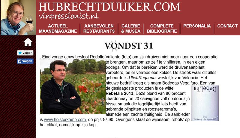 La prensa especializada de Holanda recomienda nuestros vinos